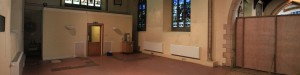South transept screened off and cleared, ready for builders