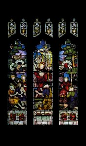 Picture of the Galilee window from the south aisle, showing a mistake in the bottom left hand corner