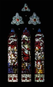Picture of the window depicting Christ breaking down the gates of Hell, east wall of the south transept
