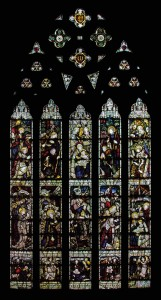 Picture of the north transept window, depicting the Nativity of Christ