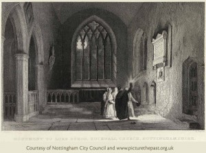 Engraving of visitors to Lord Byron's tomb and the chancel as it would have appeared in 1837