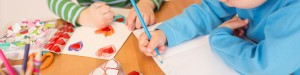 Children drawing and craft making