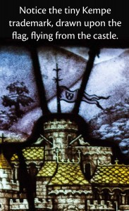 A very small Kempe trademark almost hidden in a stained glass window from St Mary Magdalene Church, Hucknall