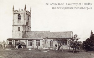 Exterior picture of church showing tower window (now inside), above the nave roof