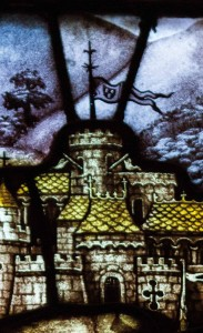 Close up detail picture, showing Kempe's trademarks in a small flag above the right hand castle scene