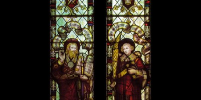 CE Kempe stained glass in the chancel, 1888. St Paul and St Stephen.