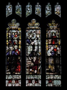 CE Kempe stained glass in the south aisle, 1893. St Peter and St John at the Beautiful Gate.