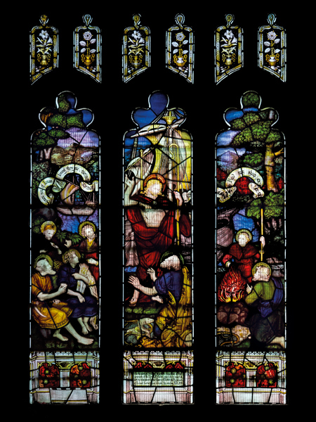CE Kempe stained glass in the south aisle, 1890. Breakfast by the Sea of Galilee and the re-commissioning of St Peter.