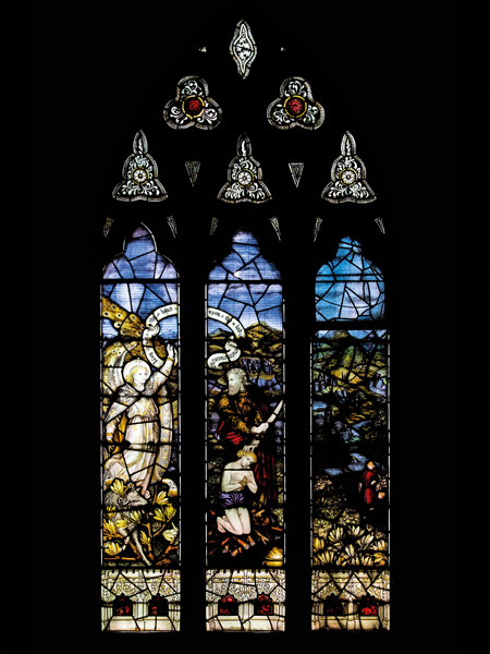 CE Kempe stained glass in the south transept, 1894. Abraham preparing to sacrifice Isaac.