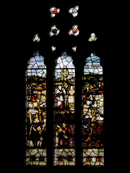 CE Kempe stained glass in the south transept, 1894. Moses and the Brazen Serpent.