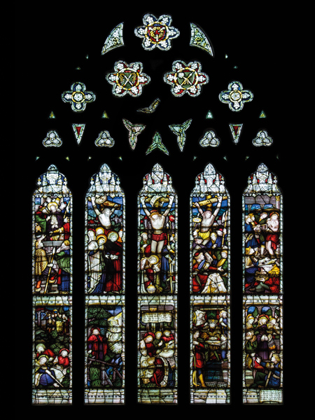 CE Kempe stained glass in the south transept, 1890. The great atonement window.