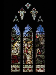 CE Kempe stained glass in the south transept, 1894. Temptation in the Wilderness.