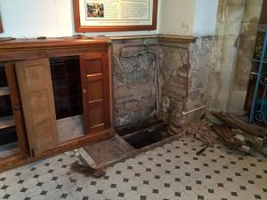 Baptistry floor repairs under way