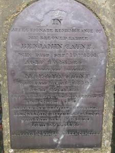 Commemorative panel on Ben Caunt's grave