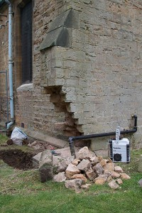 Stonework removed, ready for reassembly