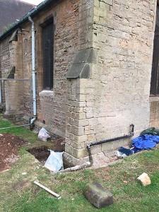 Reassembled stonework, west side