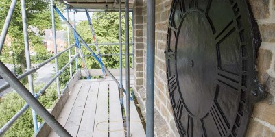 South facing clock face, sand-blasted and painted black, ready for gilding