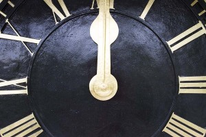 Freshly painted and gilded clock face after restoration