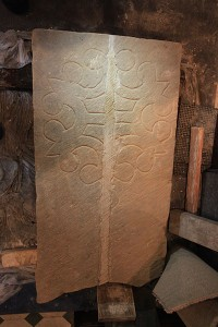 Restored medieval coffin lid (previously in two parts)
