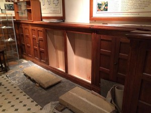 New display cabinets, made from the existing baptistry cupboards