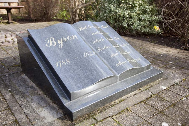 Open book monument in the Byron garden of remembrance