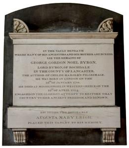 Wall memorial in memory of the poet Lord Byron