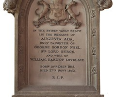 Wall memorials in memory of Ada Lovelace (above) and the Hon. Richard Noel Byron (below)