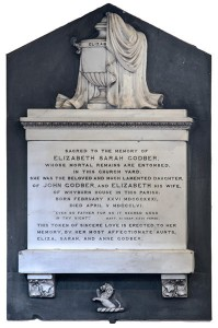 Wall memorial in memory of Elizabeth Sarah Godber, daughter of John Godber