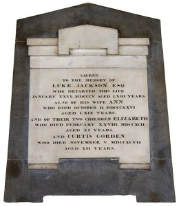Wall memorial in memory of Luke, Ann, Elizabeth and Curtis Jackson
