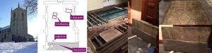 Montage of images showing south transept week 2 development, flooring, gravestone repair, burial finds
