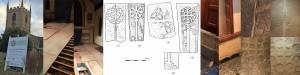 Montage of images showing south transept week 3 development, new flooring foundation, restoration of mediaeval coffin lids