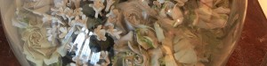 Close up of ceramic Lord Byron funeral wreath artefact