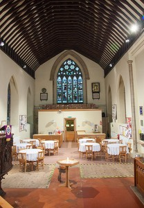 South transept refreshments area, toilet and kitchen, before new build