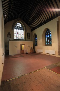 South transept, ready for demolition of old toilet and kitchen block