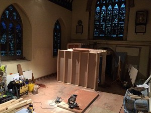 Build of new floor, toilets, lobby and kitchen serving area in south transept