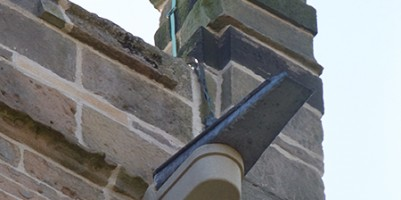 Close up of new drainage to north face of tower