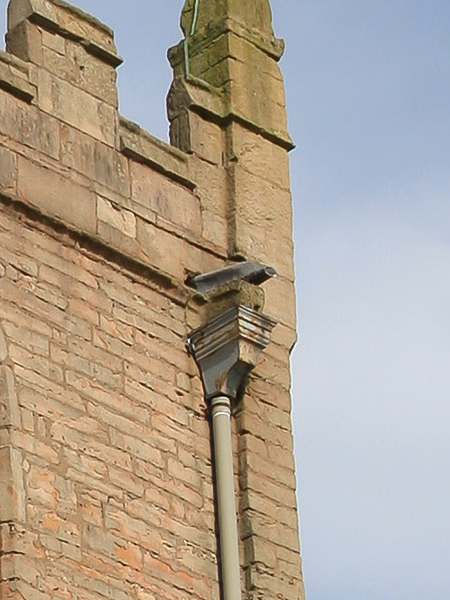 Close up of old drainage to south face of tower