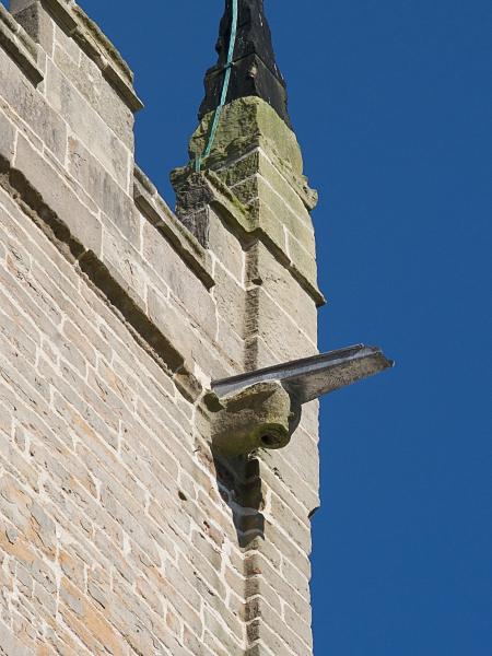 Close up of new drainage to south face of tower