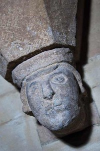 Close up of stone carving, thought to be of Geoffrey de Torkard