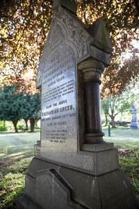 Zachariah Green's grave and monument in the south side graveyard