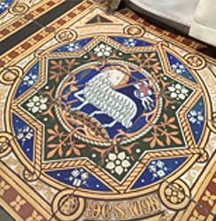 Tiles on the high altar at St Mary Magdalene church, Hucknall