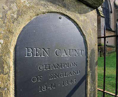 Close up of inscribed panel on Ben Caunt's grave