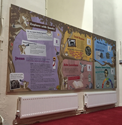 Children's interpretation panel in the base of the tower
