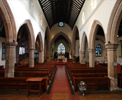 Wide angle view of the interior of St Mary Magdalene church, Hucknall
