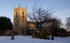 St Mary Magdalene church, Hucknall, on a snowy day