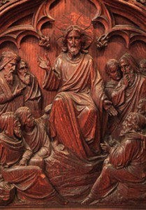 Close up of the scene of the front of the pulpit