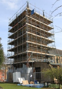 Tower scaffolding, seen from the south west