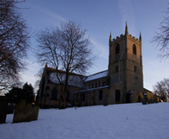 St Mary Magdalene church in winter, seen from the north west