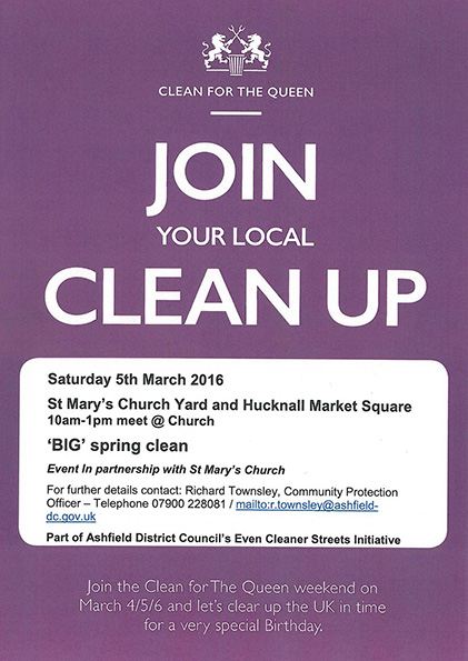 Poster for St Mary's church and Hucknall marketplace BIG Spring Clean event
