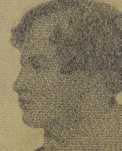 Close up of poet Lord Byron interpretive display